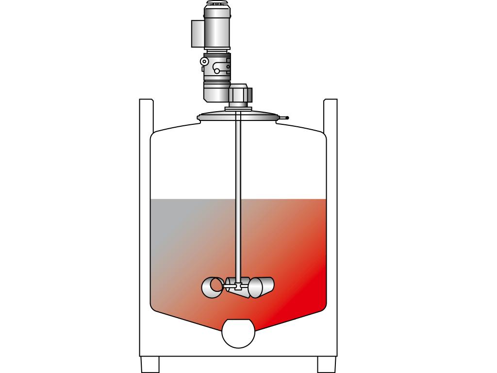 Agitador para contenedores de acero inoxidable, montado a la tapa: VISCO JET VJ520